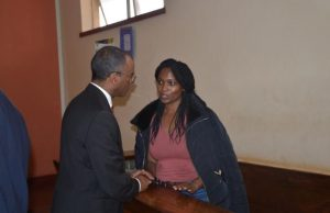 Philip Murgor with his client Sarah Cohen Wairimu in Court [Image, Courtesy]